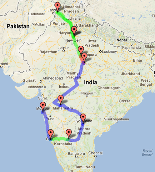 month india travel routes