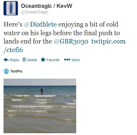 GBR3030 tweet about Gav having a paddle