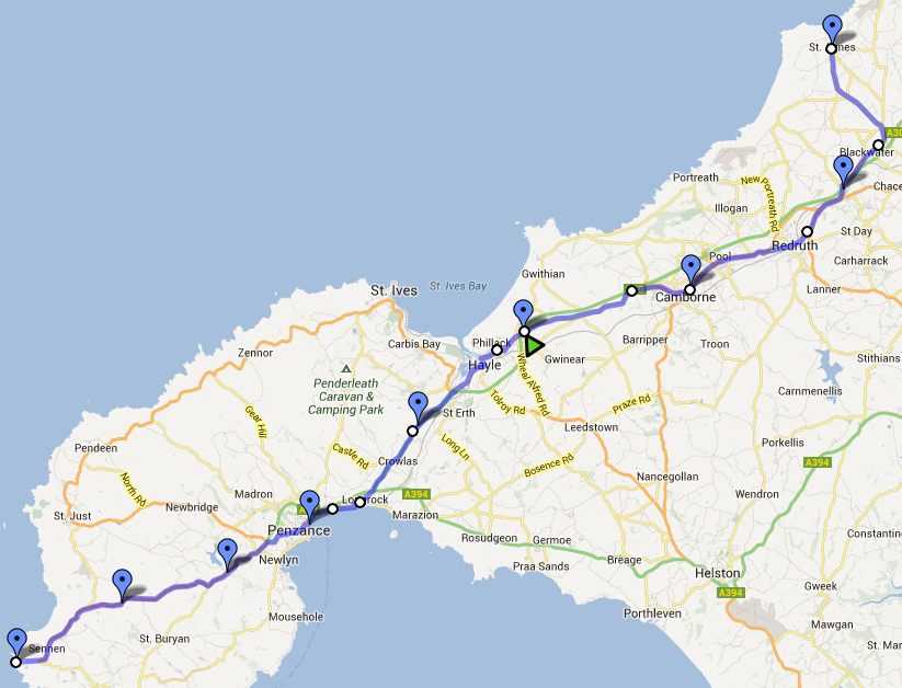 GBR30/30 Challenge, Day 30, route map