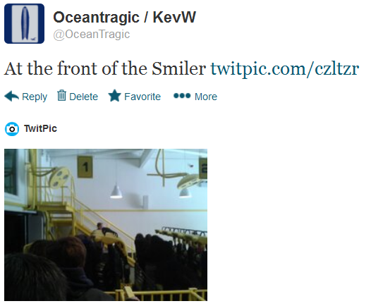 tweet, at the front of the smiler