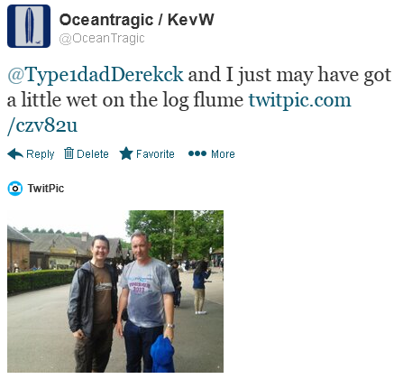 A soaked Derek and me