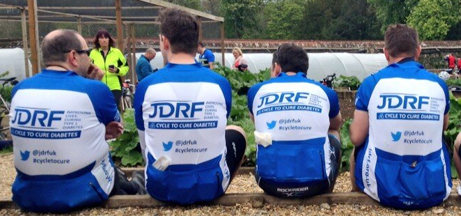 jdrf cyclists at bbq