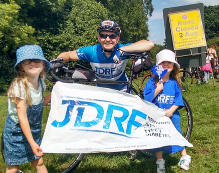 Photo with JDRF Clare's kids at Newlands Corner